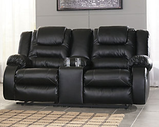 Vacherie Reclining Loveseat with Console, Black, rollover