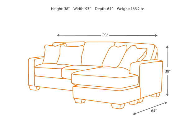Couch Depth hodan sofa chaise | ashley furniture homestore