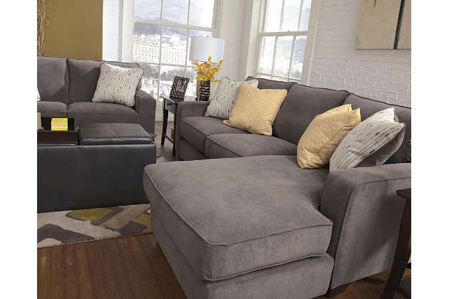 crisp tailored piping on the box seats and track arms on this gray chaise lounge sofa  sc 1 st  Ashley Furniture HomeStore : loveseat with chaise lounge - Sectionals, Sofas & Couches