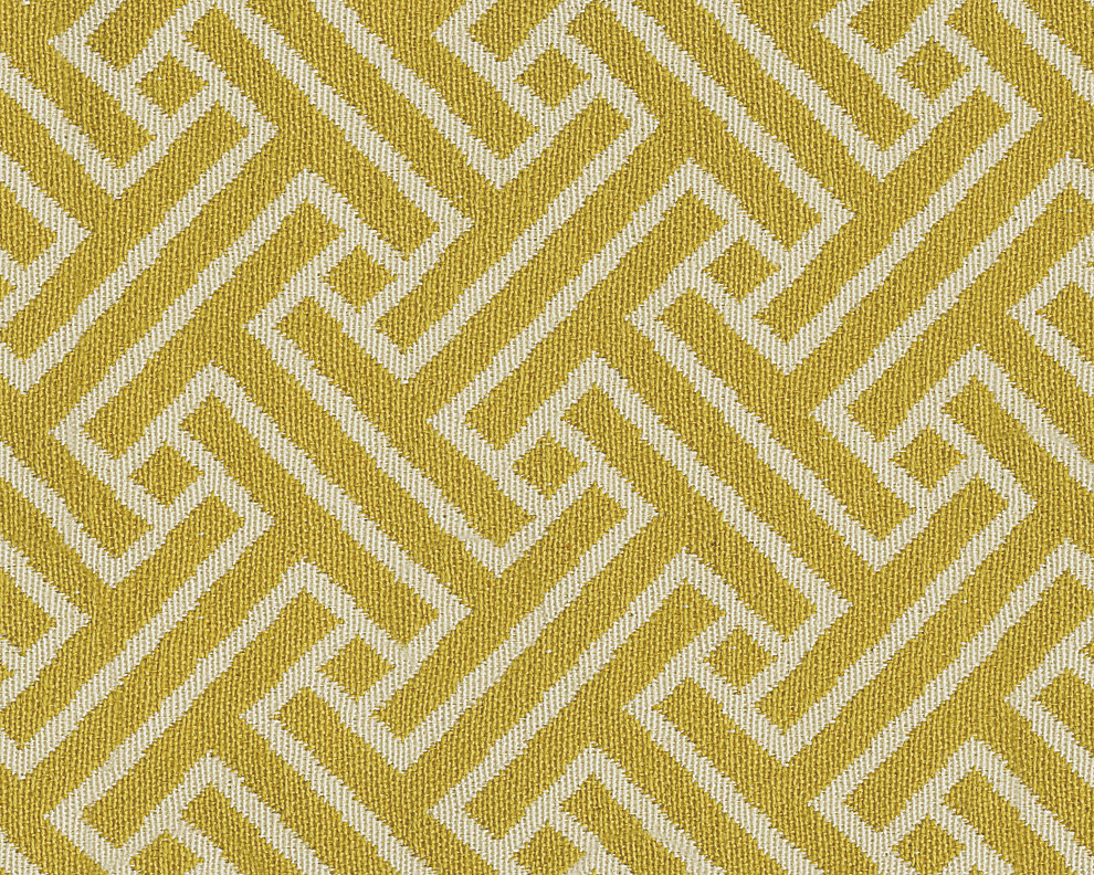 Hodan Collection Geometric Pattern Yellow Accent Fabric Swatch