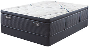 iComfort CF3000 Quilted Hybrid Plush PillowTop Queen Mattress, White/Blue, rollover