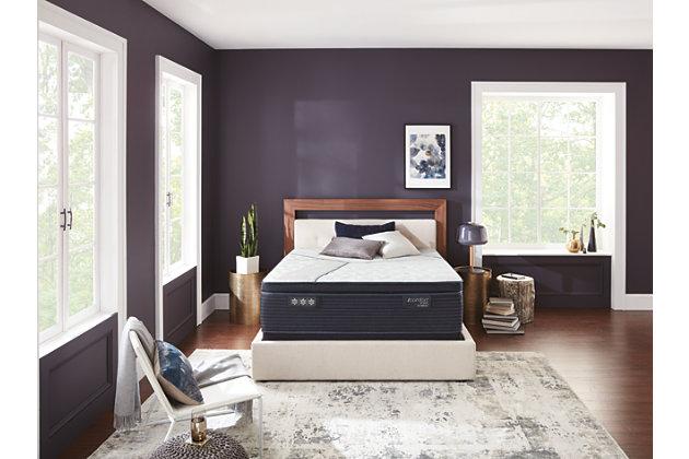 iComfort CF4000 Quilted Hybrid Medium PillowTop Queen Mattress, White/Blue, large