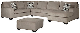 Ballinasloe 3-Piece Sectional with Ottoman, Platinum, rollover