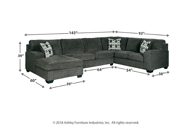 Ballinasloe 3-Piece Sectional with Chaise, Smoke, large