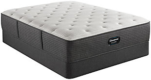 Beautyrest Silver Level 2 Greystone Medium Twin Mattress, White/Navy, rollover