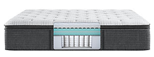 Beautyrest Silver Level 2 Greystone PT Plush Twin Mattress, White/Navy, large