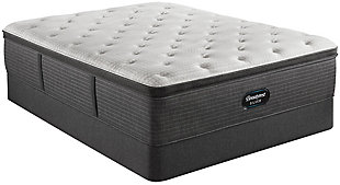 Beautyrest Silver Level 2 Greystone PT Plush Full Mattress, White/Navy, rollover