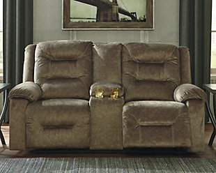 Waldheim Power Reclining Loveseat with Console, Mocha, rollover