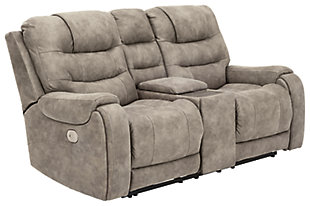 Yacolt Power Reclining Loveseat with Console, Fog, large