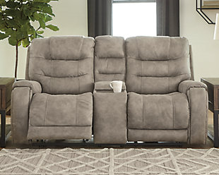 Yacolt Power Reclining Loveseat with Console, Fog, rollover
