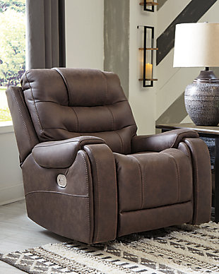 Yacolt Power Recliner, Walnut, rollover