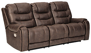 Yacolt Power Reclining Sofa, Walnut, large