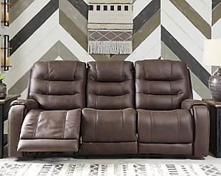 Yacolt Power Reclining Sofa, Walnut, rollover