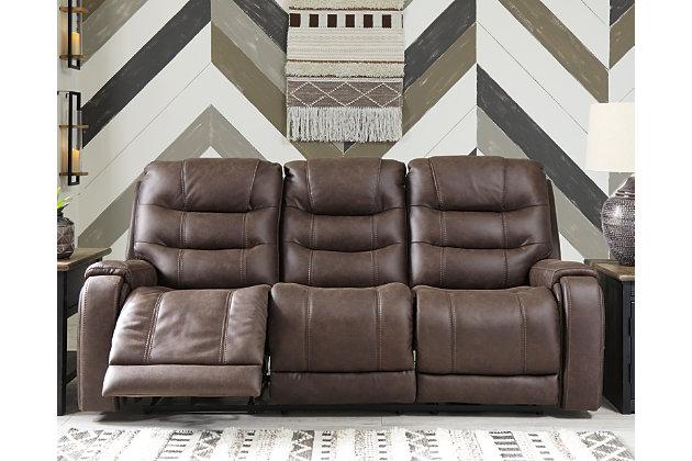 Yacolt Power Reclining Sofa, Walnut, large
