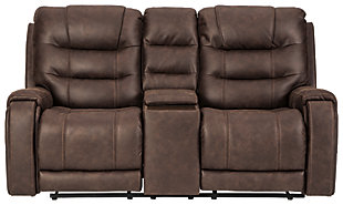 Yacolt Power Reclining Loveseat with Console, Walnut, large