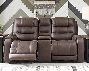 Yacolt Power Reclining Loveseat with Console, Walnut, rollover