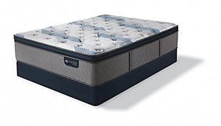 iComfort Hybrid Blue Fusion 300 Plush Pillow Top Twin Mattress, Gray/Blue, rollover