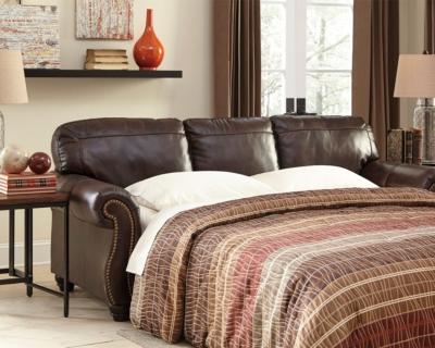 Ashley Bristan Queen Sofa Sleeper, Walnut Leather