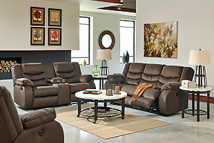 Chivington Reclining Loveseat with Console, Earth, large