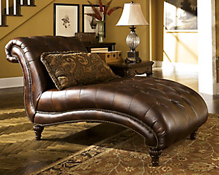 Antique Brown Leather Chaise Lounge Along With Pillow For Your Living Room  Décor