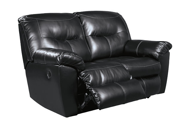 Kilzer Reclining Loveseat, Black, large