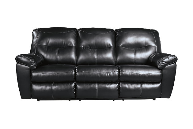 Kilzer Reclining Sofa, Black, large