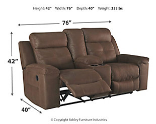 Jesolo Reclining Loveseat with Console, Coffee, large