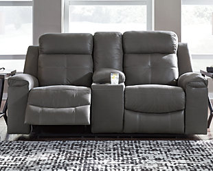 Jesolo Reclining Loveseat with Console, Dark Gray, rollover