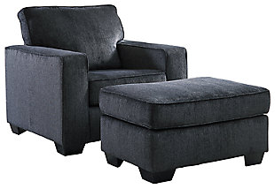 Altari Chair and Ottoman, Slate, large