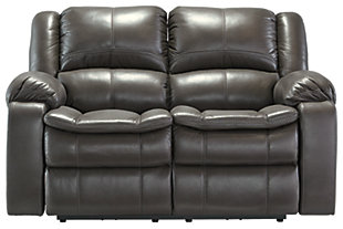 Long Knight Reclining Loveseat, Gray, large