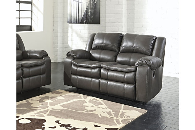 Long Knight Reclining Loveseat by Ashley HomeStore, Gray,...