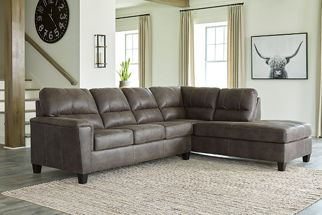 Navi 2 Piece Sectional With Chaise, Ashley Furniture Gray Sectional