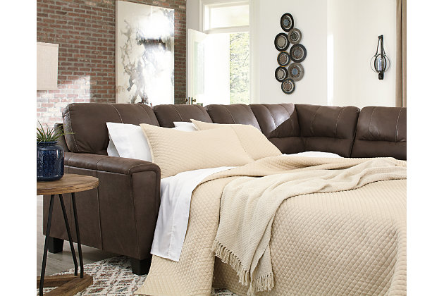 Navi 2-Piece Sleeper Sectional with Chaise, Chestnut, large