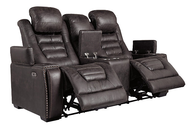 Cave Warrior Power Reclining Loveseat with Console, , large