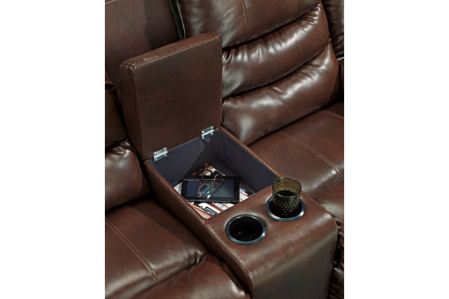 Linebacker Reclining Loveseat with Console, Espresso, large