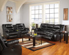 Black Linebacker DuraBlend® Reclining Loveseat with Console View 9