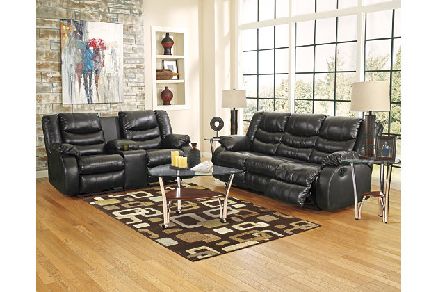 Black Linebacker DuraBlend® Reclining Loveseat with Console View 3