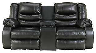 Linebacker Reclining Loveseat with Console, Black, large