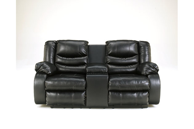 Black Linebacker DuraBlend® Reclining Loveseat with Console View