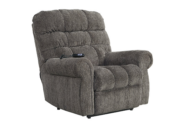 Ernestine Power Lift Recliner by Ashley HomeStore, Gray, Polyester (100 %)