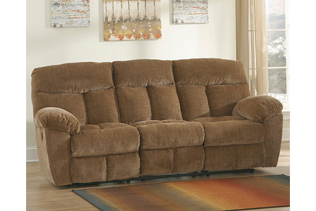 Hector Reclining Sofa by Ashley HomeStore, Brown, Polyester (100 %)