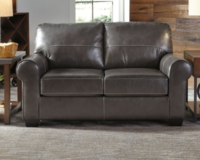 Gunmetal Leather Loveseat Product Photo 537