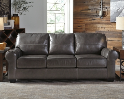 Gunmetal Leather Sofa Product Photo 525