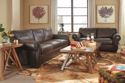Ashley Lorton Sofa and Loveseat, Chocolate Leather