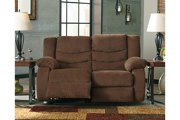 Tulen Reclining Loveseat by Ashley HomeStore, Brown, Polyester (100 %)