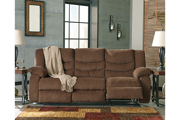 Tulen Reclining Sofa by Ashley HomeStore, Brown, Polyester (100 %)