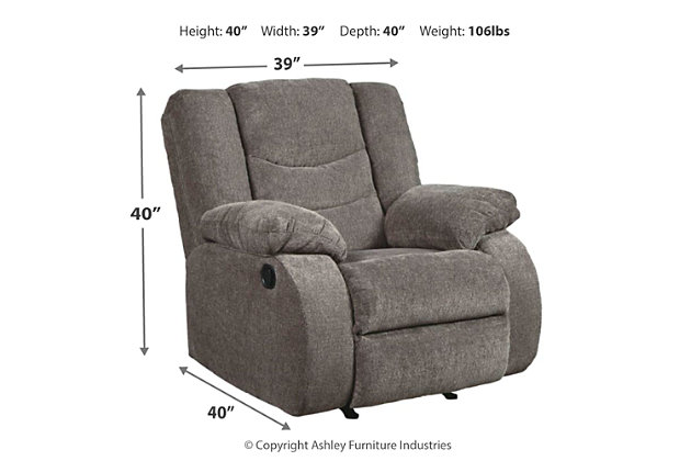Tulen Recliner, Gray, large