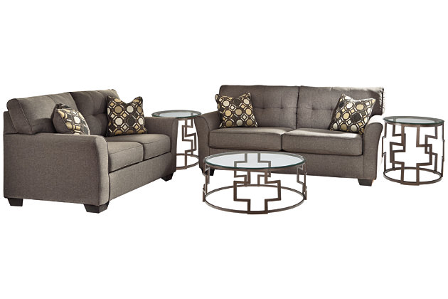 Tibbee Sofa and Loveseat with Coffee Table and 2 End Tables, , large