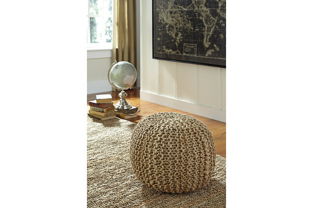 Tan Dilip Pouf by Ashley HomeStore