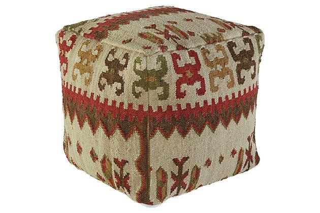 Image of Aarav Pouf by Ashley HomeStore, Multi, Cotton/wool